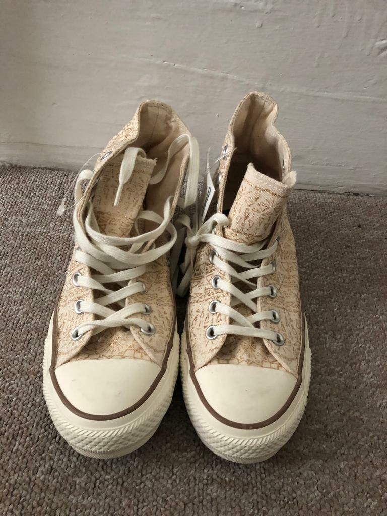 b5e32f1fcca5 Converse All Star High Top Gold Sparkle Pattern size UK 7  EUR 40
