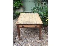 Antique Pine Table with Drawer, L122 x W90 x H72cm