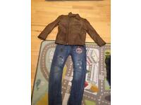 Boys leather jacket and jeans age 6-7