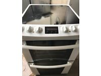 Zanussi 60 cm wide new model electric ceramic plate cooker with fan assisted oven