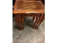 Yew wood Nest of 3 tables