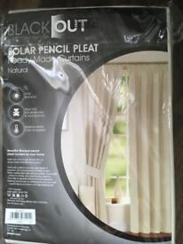 Blackout pencil pleat curtains 116cm x 182