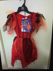 NEW- Girls Halloween Dress - Red - Age 5-6 Years - Dress only - with tags