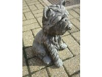 LARGE AND HEAVY CONCRETE TERRIER DOG, GARDEN, PATIO OR CONSERVATORY