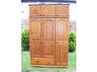 CAN DELIVER - SOLID PINE TRIPLE WARDROBE WITH TOP BOX IN VERY GOOD CONDITION - VERY SPACEFUL