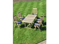 BrambleCrest Wooden Garden table and chairs with seat cushions