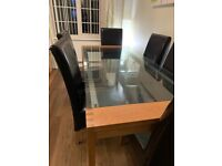 Oak and Glass Dining Table with 6 Chairs