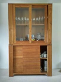 Modern Solid Oak & Glass Two Piece Dresser Cabinet