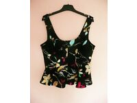 Ladies Womens Club L Black with Multicoloured Floral & Birds Flared Sleeveless Vest Top Size 12