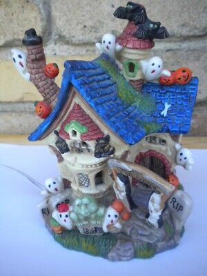 "Halloween Haunted House Ceramic Lighted Decor 6.5"" x 4.5"" Light Works"