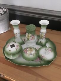 Vintage green floral china dressing table set excellent condition no chips