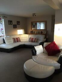 Dfs ripple leather and leather look left arm facing corner sofa and swivel chair £850 for both ONO