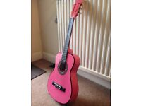 Childs Junior classical guitar pink half size with case
