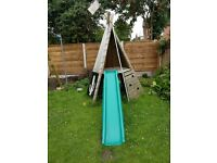 Wooden climbing frame/teepee with slide