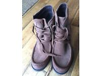 Fat face suede wedge boots