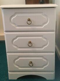 White 3 drawer bedside cabinet