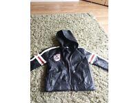Boys leather look biker jacket with hood age 4 black