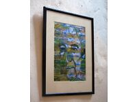 Contemporary signed print of Seamus Heaney emerging from a design of Irish landscapes.