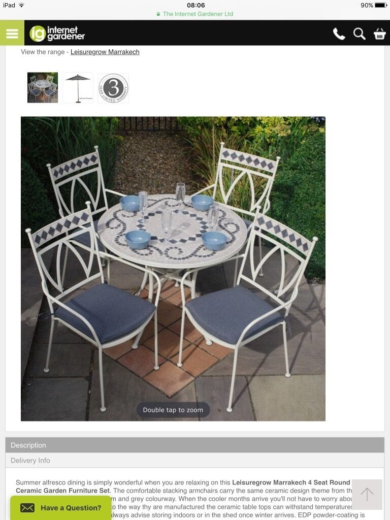 Outdoor garden patio table set and 4 chairs brand new leisuregrow marrakech wirral merseyside £299 00