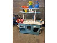 Blue wooden kitchen