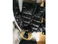 Moncler fur coat. Size medium, all black.