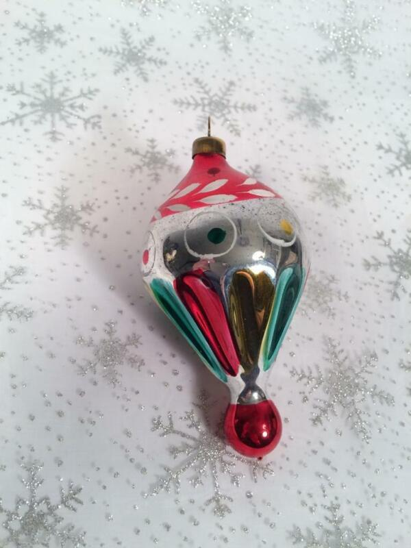 VINTAGE BLOWN GLASS FLUTED HOT AIR BALLOON SHAPED CHRISTMAS ORNAMENT