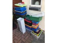 Joblot of plastic storage tubs containers and trays 60+