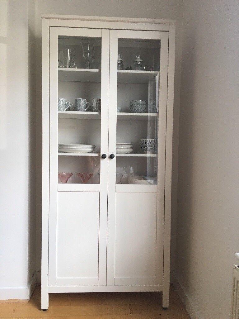 Ikea hemnes white glass panel display cabinet