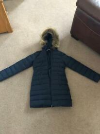 Hollister long coat, navy, size small