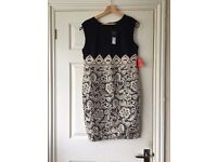 AX Paris Navy Dress with Gold lace Size 16 BNWT