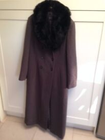 Winter Wool and Cashmere Coat with Faux Fur Collar