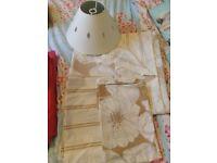 Beige/cream double bedding set and cream lampshade