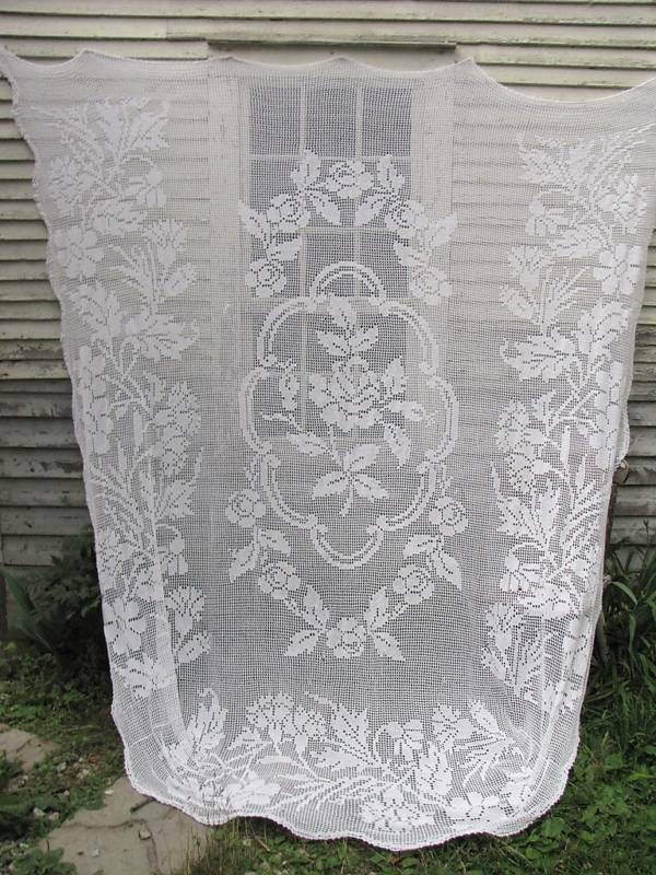 Antique Vintage French crochet bed cover white textile