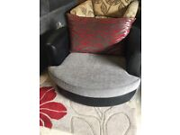 2 Seater with Grey Cloth Trimmed in Black Leather with Scattered Cushions & A Matching Swivel Chair