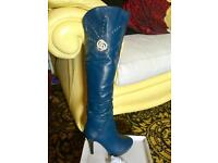Ladies long bling blue boots size 6