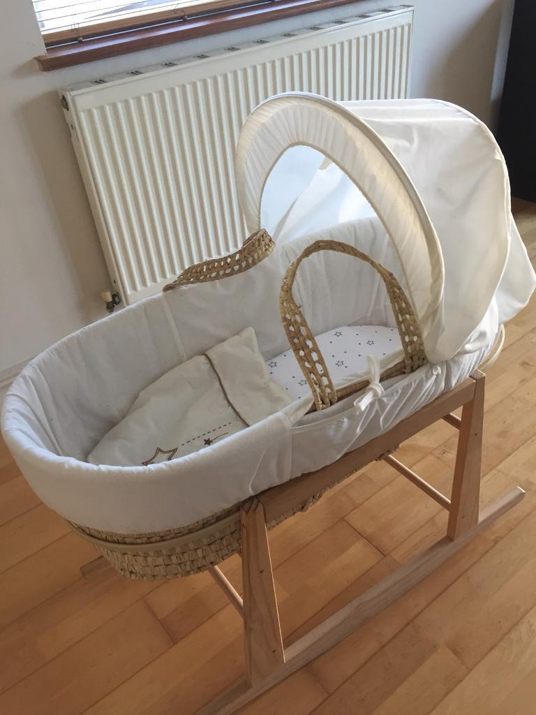 Cream and brown Moses basket with stand