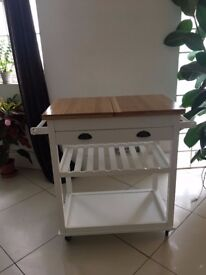 Assembled Bar Trolley - White and Brown Wood