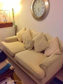 DFS Cream three seater sofa couch settee