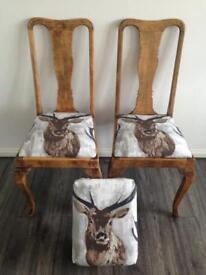 🦌🦌 COMPLETELY REFURBISHED 2 SOLID OAK CHAIRS & STOOL/ FOOTSTOOL IN A DESIGN STAG + CHAIR -CUSHION