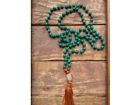 Howlite Mala Necklace / Patience Mala / Mala Beads 108 / Hand Knotted Mala Necklace / Gemstone Mala