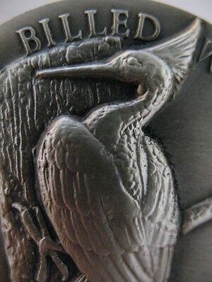 1-OZ .925 LONGINES STERLING SILVER  RARE WOODPECKER 3D HIGH RELIEF COIN + GOLD
