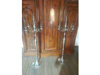 Large polished metal 5 arm classic floor candelabras wedding