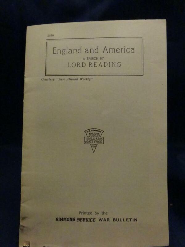 WWI Keen Kutter Service War Bulletin England & America Lord Reading Speech RARE