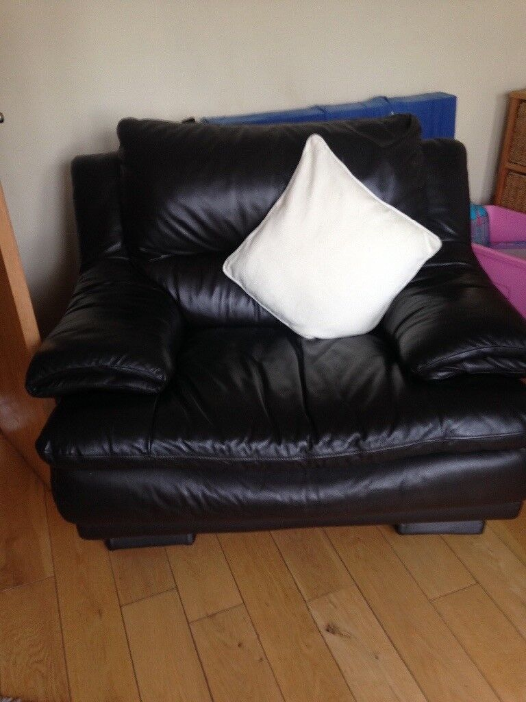 Brown leather sofa and two chairs cat scratches on sofa