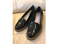Black Clarks flat loafers size 3.5 wide fit
