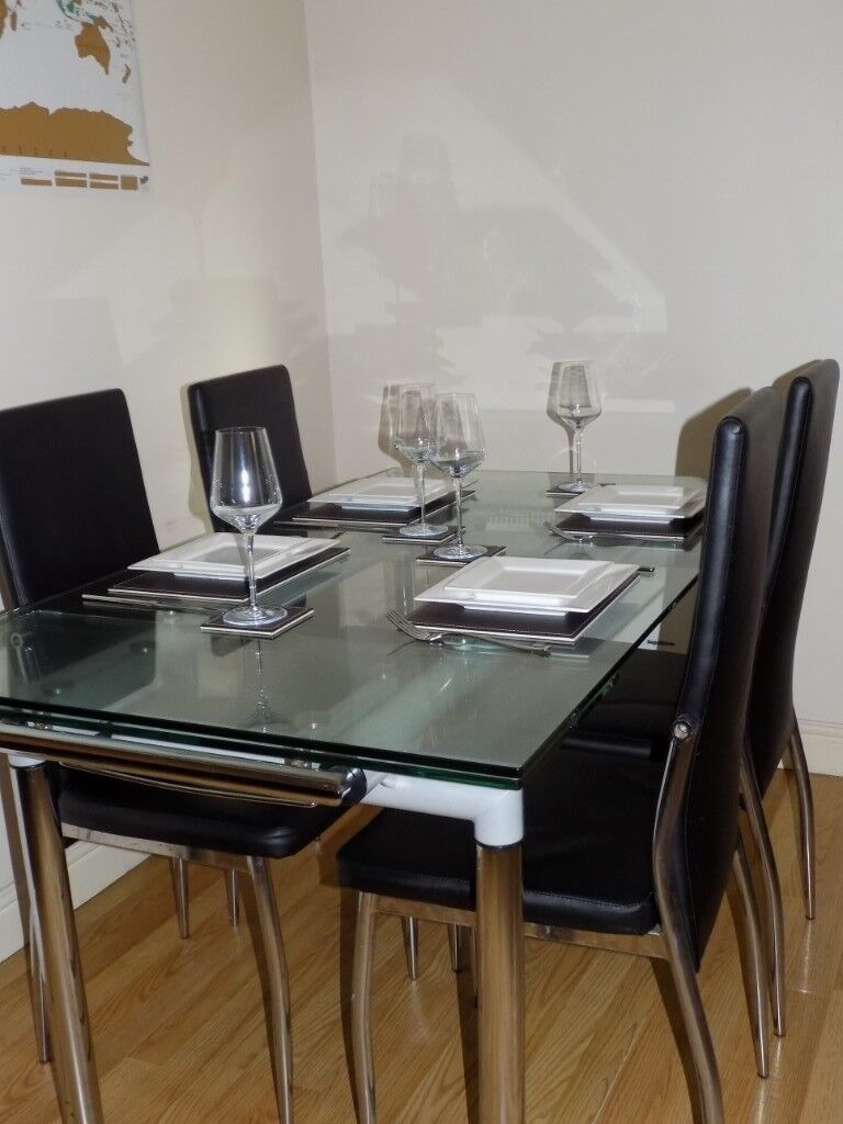 Glass Dining Table 6 Black Leather Chairs In Morley West