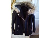 New look blue jacket with hood never been used size 8. £12