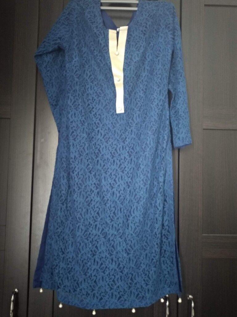 salwar kameez indian pakistani south asian suit tailoring dress new blue  lace size s 879318b22