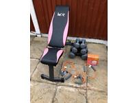 Women's Health Dumbbells+Weights Bench+Stretch Set. •Can Deliver•