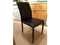 4 John Lewis dinning room chairs, black vinyl, good condition...